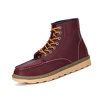 Bootsit-Tasapohja-Miesten-PU-Musta Ruskea Punainen Khaki-Rento-Comfort