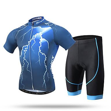 XINTOWN 男性用 半袖 ショーツ付きサイクリングジャージー バイク ショートパンツ パッド入りショーツ ジャージー パンツ 洋服セット, 速乾性, 抗紫外線, 高通気性, モイスチャーコントロール, 反射性ストリップ, 3Dパッド