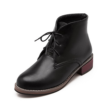 Dame-PU-Tykk hæl-Komfort-Støvler-Kontor og arbeid Formell Fritid-Svart Rød Hvit