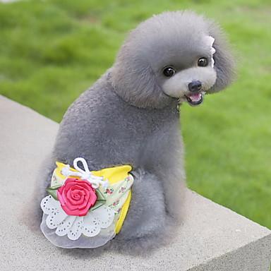 Gato Perro Pantalones Ropa para Perro Flor Beige Amarillo Verde Rosa Algodón Disfraz Para mascotas Hombre Mujer Bonito Casual/Diario