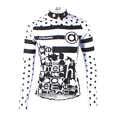ILPALADINO Mujer Manga Larga Maillot de Ciclismo - Negro / Blanco Bicicleta Camiseta / Maillot, Secado rápido, Resistente a los UV,