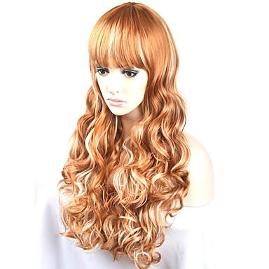 Syntetiske parykker Naturlige bølger Blond Syntetisk hår Blond Parykk Dame Lang / Veldig lang Lokkløs Gyldenbrun
