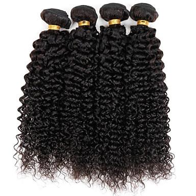 3 pakker Brasiliansk hår Kinky Curly Ekte hår Menneskehår Vevet 8-30 tommers Hårvever med menneskehår Hairextensions med menneskehår / Kinky Krøllet