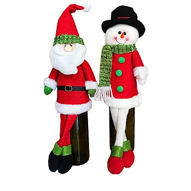 2 setti söpö pusero punaviini pullo kansi pussit joulupukki päivällinen kattaukseen vaatteet hatut kotona osapuolen koristeluita