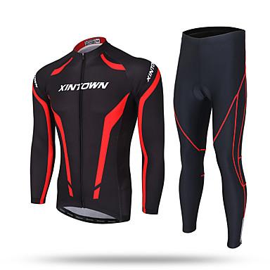 XINTOWN Miesten Pitkähihainen Pyöräily jersey ja trikoot - Musta Pyörä Jersey Pants Vaatesetit, 3D alusta, Pidä lämpimänä, Hikeä