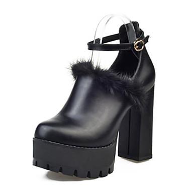 Dame Støvler Komfort Kampstøvler PU Vinter Avslappet Gange Komfort Kampstøvler Spenne Tykk hæl Svart 5 - 7 cm