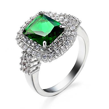 Χαμηλού Κόστους Μοδάτο Δαχτυλίδι-Γυναικεία Cubic Zirconia Emerald Cut Δαχτυλίδι Ζιρκονίτης Cubic Zirconia Τυρκουάζ Ευρωπαϊκό Μοντέρνα Μοδάτο Δαχτυλίδι Κοσμήματα Πράσινο / Μπλε / Ανοικτό Καφέ Για Γάμου Halloween Καθημερινά Causal 6