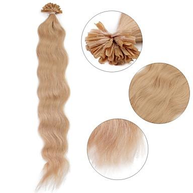 Queratina / Punta en U Extensiones de cabello humano Rizado Extensiones Naturales Cabello humano Mujer - Blonde Rubio platino Borgoña