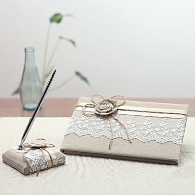 リネン ガーデンテーマWithリボン 結婚式芳名帳 / ペンセット