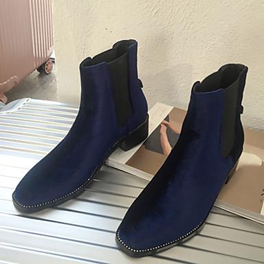 レディース 靴 スエード 秋 冬 ブーティー ブーツ チャンキーヒール ラウンドトウ 用途 カジュアル ブラック ブルー