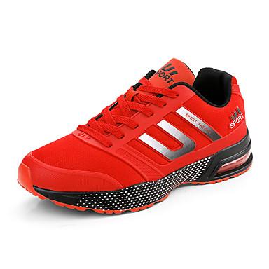 Herre-PU-Flat hæl-Komfort-Treningssko-Fritid-Grønn Rød Oransje Svart og Rød
