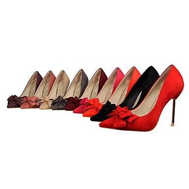 Punta Borgoña Tacones Stiletto cerrada Pajarita Vestido Zapatos Confort Puntiagudo 05399328 Mujer Rosa Tacón Ante Invierno Dedo Almendra 6FIxn