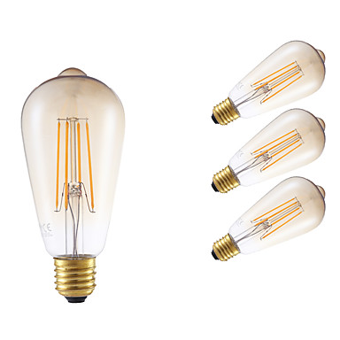 E26/E27 LED-hehkulamput ST64 4 ledit COB Himmennettävissä Koristeltu Amber 350lm 2200K AC 220-240V