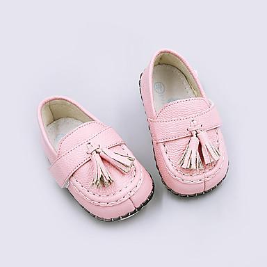 Lapset Tyttöjen Vauvat kengät Siannahka Kevät Syksy Ensikengät Mokkasiinit Tupsuilla Käyttötarkoitus Kausaliteetti Valkoinen Keltainen