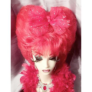 Naisten Synteettiset peruukit Full Lace Pitkä Hyvin pitkä Kihara Punainen 100% kanekalon-hiuksia Luonnollinen hiusviiva Cosplay-peruukki