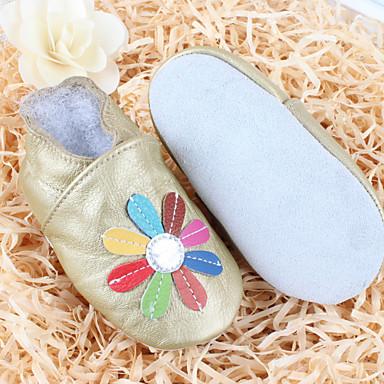 Barne Baby Jente sko Lær Komfort Flate sko til Avslappet Gull