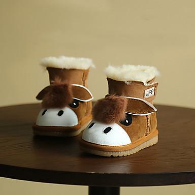 キッズ 男の子 赤ちゃん ブーツ スノーブーツ レザー 冬 スノーブーツ アニマルプリント フラットヒール ブラック ブルー ライトブラウン フラット