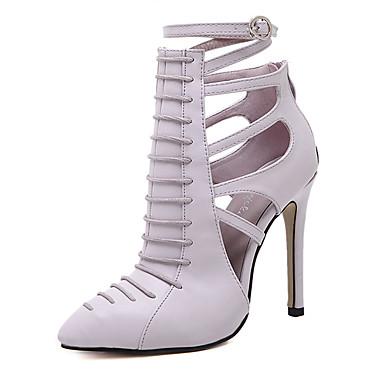 Femme Chaussures à Talons Talon Aiguille Bout pointu Fermeture Similicuir Bride de Cheville Eté Noir / Violet Claire / Habillé
