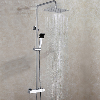Duscharmaturen-Zeitgenössisch-Thermostatische / Regendusche / Handdusche inklusive-Messing(Chrom)