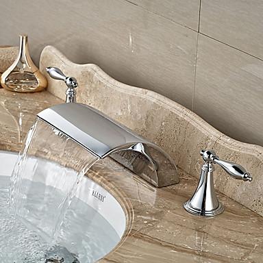 近代の 組み合わせ式 滝状吐水タイプ with  セラミックバルブ 三つ 二つのハンドル三穴 for  クロム , バスルームのシンクの蛇口