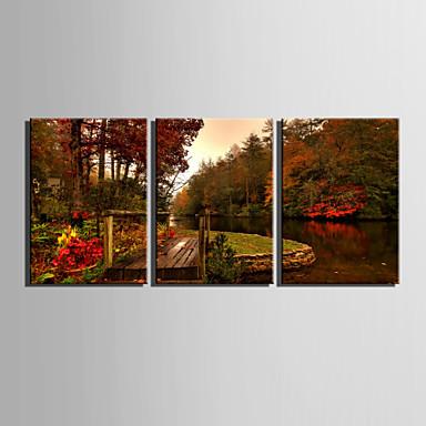 Maisema European Style, 3 paneeli Kangas Pysty Painettu Wall Decor Kodinsisustus