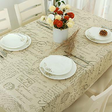Suorakulma Patterned Table Cloths , Mélange Lin/Coton materiaaliHotel ruokapöytä Häihin Illallinen Taulukko Dceoration Häät Illallinen