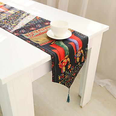 長方形 フラワー パターン柄 動物 テーブルランナー , コットンブレンド 材料 ホテルのダイニングテーブル 表Dceoration