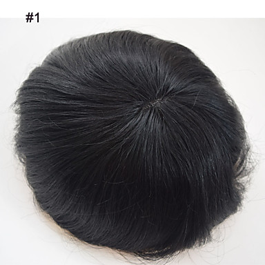 cheap Toupees-6×8 inch brazilian human hair toupees for men toppers hair men's hair systems replacement fine mono toupee for men