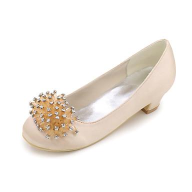 Girls  Shoes Satin Spring   Summer Flower Girl Shoes Heels Rhinestone for  Blue   Champagne
