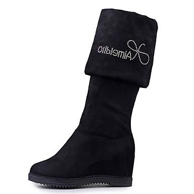 Dame-Semsket lær-Kilehæl-Komfort-Støvler-Friluft Formell Fritid-Svart