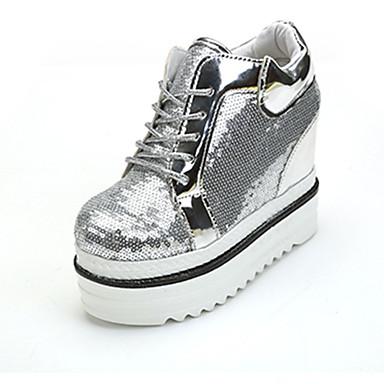 Dame-PU-Flat hæl-Komfort-Støvler-Fritid-Svart Sølv