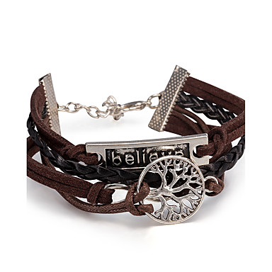 Men's / Women's Layered Wrap Bracelet / Leather Bracelet - Leaf, Skull, Friends Punk, Multi Layer Bracelet Brown For Daily / Casual / Stage