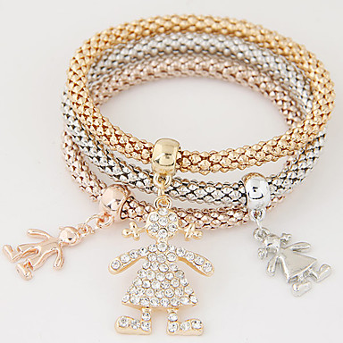 Dame Lag-på-lag Stable Vedhend Armband - Strass, Fuskediamant Luksus, Europeisk, Enkel Stil Armbånd Regnbue Til Gave Daglig