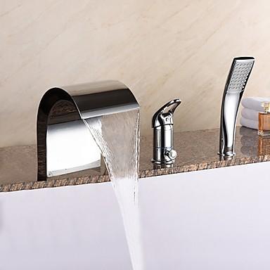 近代の 組み合わせ式 滝状吐水タイプ 組み合わせ式 ハンドシャワーは含まれている セラミックバルブ 三つ シングルハンドル三穴 クロム, 浴槽用水栓