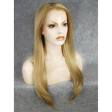 imstyle 24''top kvalitet varmebestandig blanding lys blond lange naturlige rette syntetisk blonder foran parykker