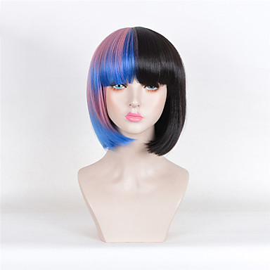 13a555f9e melanie martinez short straight half pink and black ombre blue heat  resistant synthetic wigs short wigs for women cosplay wigs heat resistant  Halloween