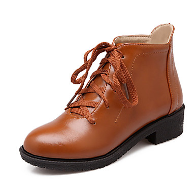Dame-PU-Tykk hæl-Ankelrem Komfort-Støvler-Kontor og arbeid Fritid Sport-Svart Gul Rød Grønn