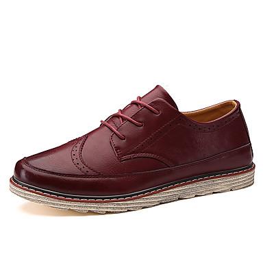 Miehet kengät Tekonahka Kevät Syksy Talvi Comfort Muotisaappaat Oxford-kengät Käyttötarkoitus Kausaliteetti Musta Maan keltainen Burgundi