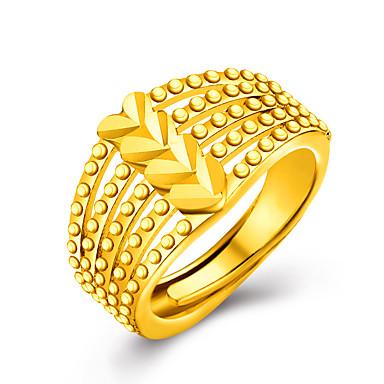 Dame Statement Ring - 18K Gullbelagt, Gullbelagt Hjerte, Kjærlighed damer, Personalisert, Luksus Smykker Gylden Til Bryllup Fest Gave Daglig Valentine En størrelse