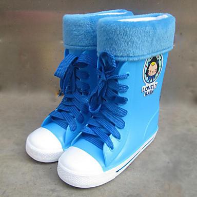 Tyttöjen Kengät Synteettinen Talvi Kumisaappaat Bootsit Tasapohja Solmittavat Käyttötarkoitus Keltainen Sininen