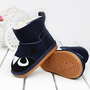 Barne Jente Baby sko Lær Vinter Komfort Støvler Magisk teip til Avslappet utendørs Gul Fersken Navyblå Mørkebrun