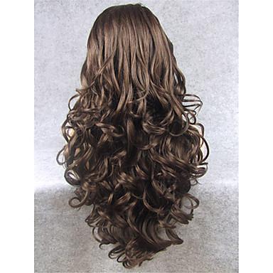 Synteettiset peruukit Laineita Synteettiset hiukset Luonnollinen hiusviiva Ruskea Peruukki Naisten Pitkä Lace Front