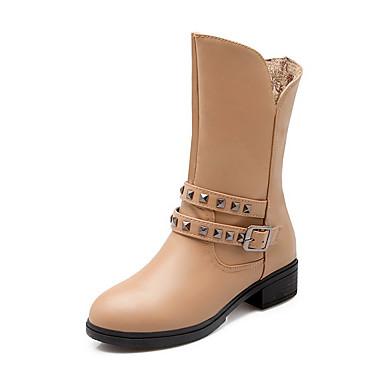 Dame-PU-Lav hæl-Komfort-Støvler-Kontor og arbeid Formell Fritid-Svart Blå Mandel