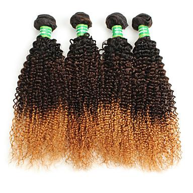 baratos Extensões de Cabelo Natural-4 pacotes Cabelo Brasileiro Encaracolado Afro 10A Cabelo Virgem Âmbar Âmbar Tramas de cabelo humano Extensões de cabelo humano