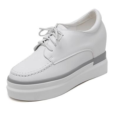 Naisten Kengät Tekonahka Kevät / Syksy Creepers Oxford-kengät Korokekengät Pyöreä kärkinen Solmittavat Valkoinen