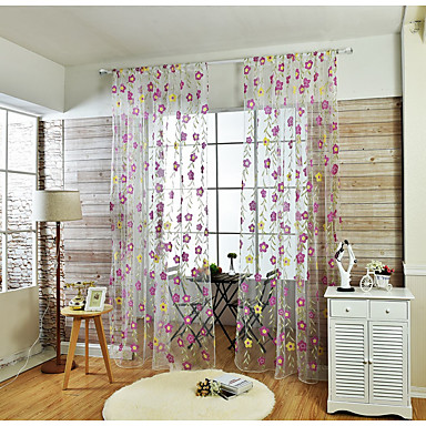 Stanglomme Et panel Window Treatment Land, Applikation Blomsternål i krystall Stue Lin/ Polyester Blanding Materiale Gardiner Skygge Hjem