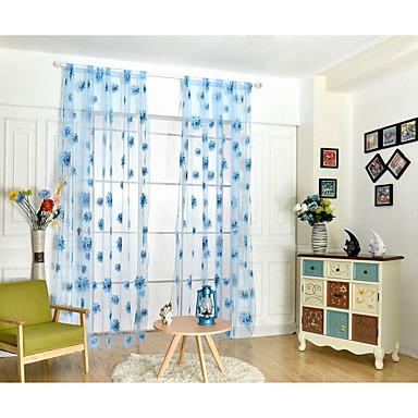 Stanglomme Et panel Window Treatment Moderne, Trykk Blomsternål i krystall Barnerom Poly/ Bomull Blanding Materiale Gardiner Skygge Hjem
