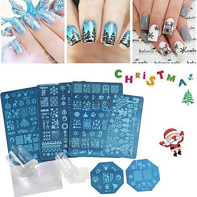クリスマスネイルアートスタンピングプレートの花クリスマスデザインDIYの爪のテンプレートは、スタンパセットステンシル装飾をスタンプステッカー