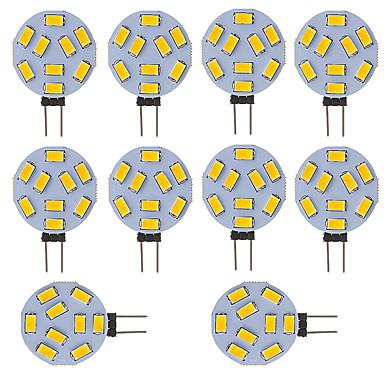 10pcs 300lm G4 Luces LED de Doble Pin Tubo 9 Cuentas LED SMD 5730 Blanco Fresco 12V