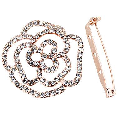 女性 カップル用 女の子 ブローチ イミテーションダイヤモンド フラワー ローズ ジュエリー 用途 結婚式 パーティー 日常 カジュアル